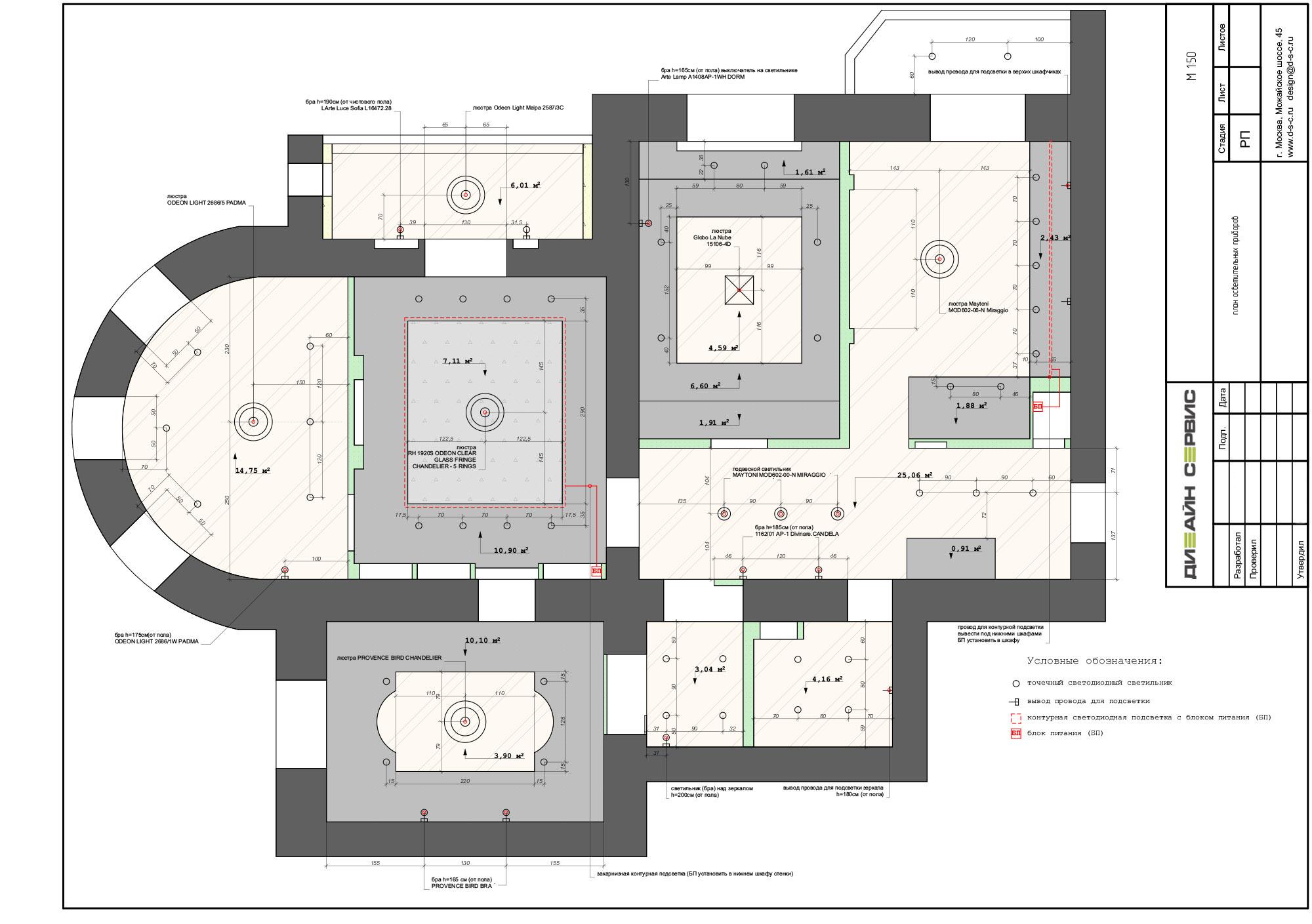 план осветительных приборов